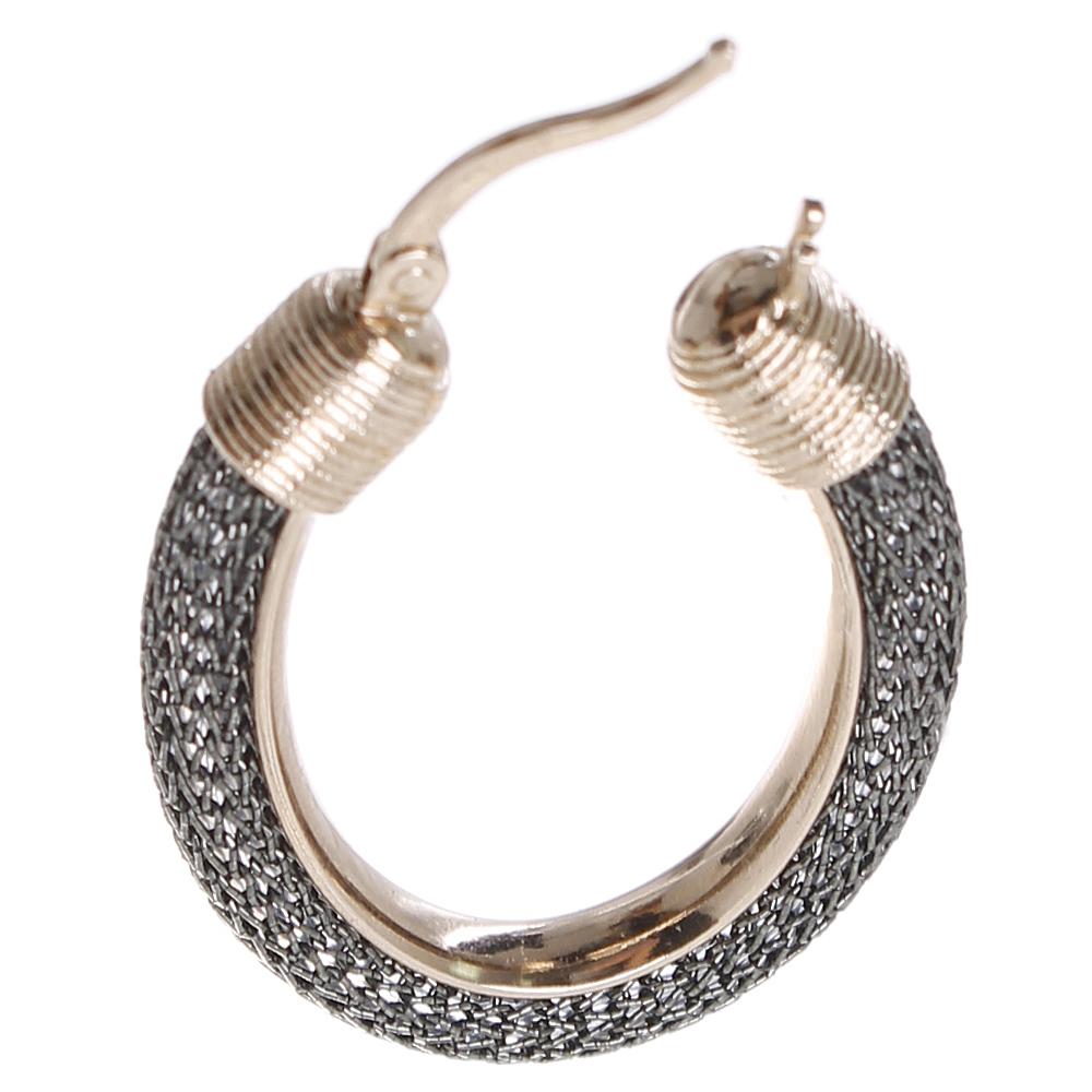 Серьги Elisabeth Landeloos декорированные серебряной тканью
