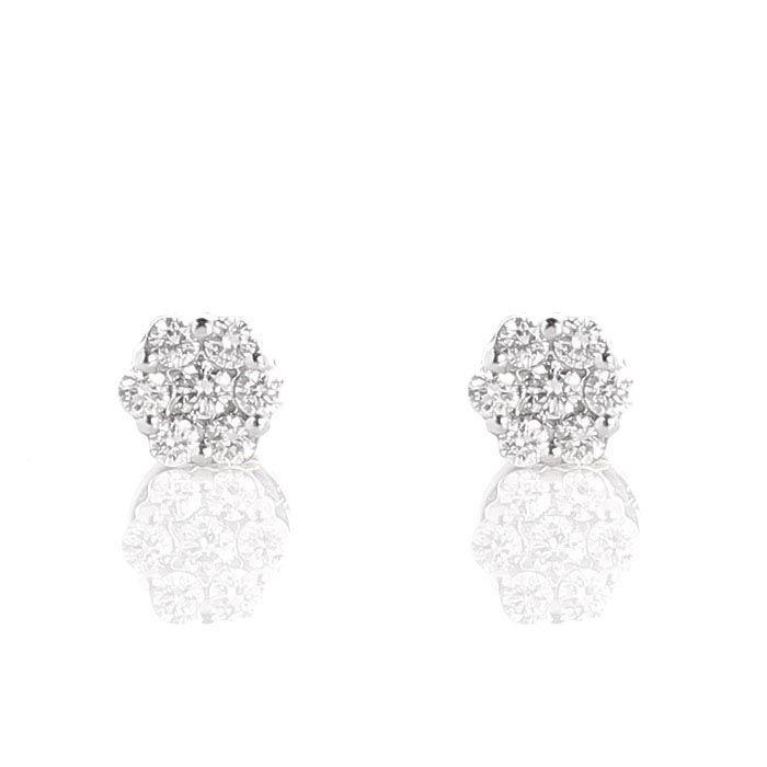 Серьги-пусеты в виде мелких цветочков из белого золота с бриллиантами