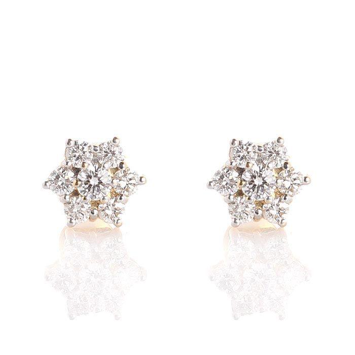 Серьги-гвоздики в виде маленькиз звездочек  из белого золота с бриллиантами