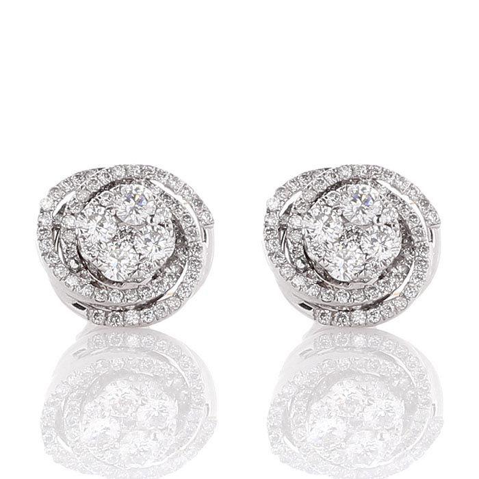 Серьги-гвоздики в форме розочки с бриллиантами