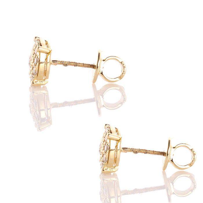 Серьги-пусеты инкрустированные бриллиантами