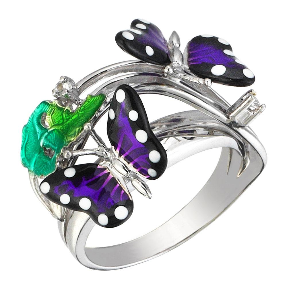 Кольцо 935 by Roberto Bravo с бабочками фиолетового цвета