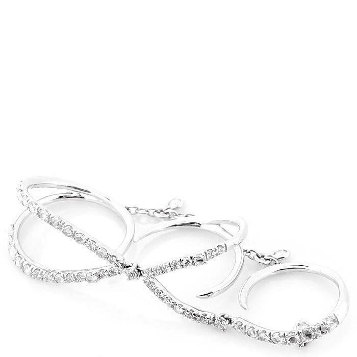 Тройное кольцо Casato из белого золота с бриллиантами