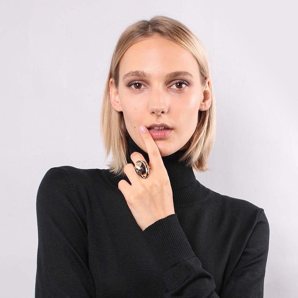 Позолоченное кольцо Graziella с черной шелковой лентой
