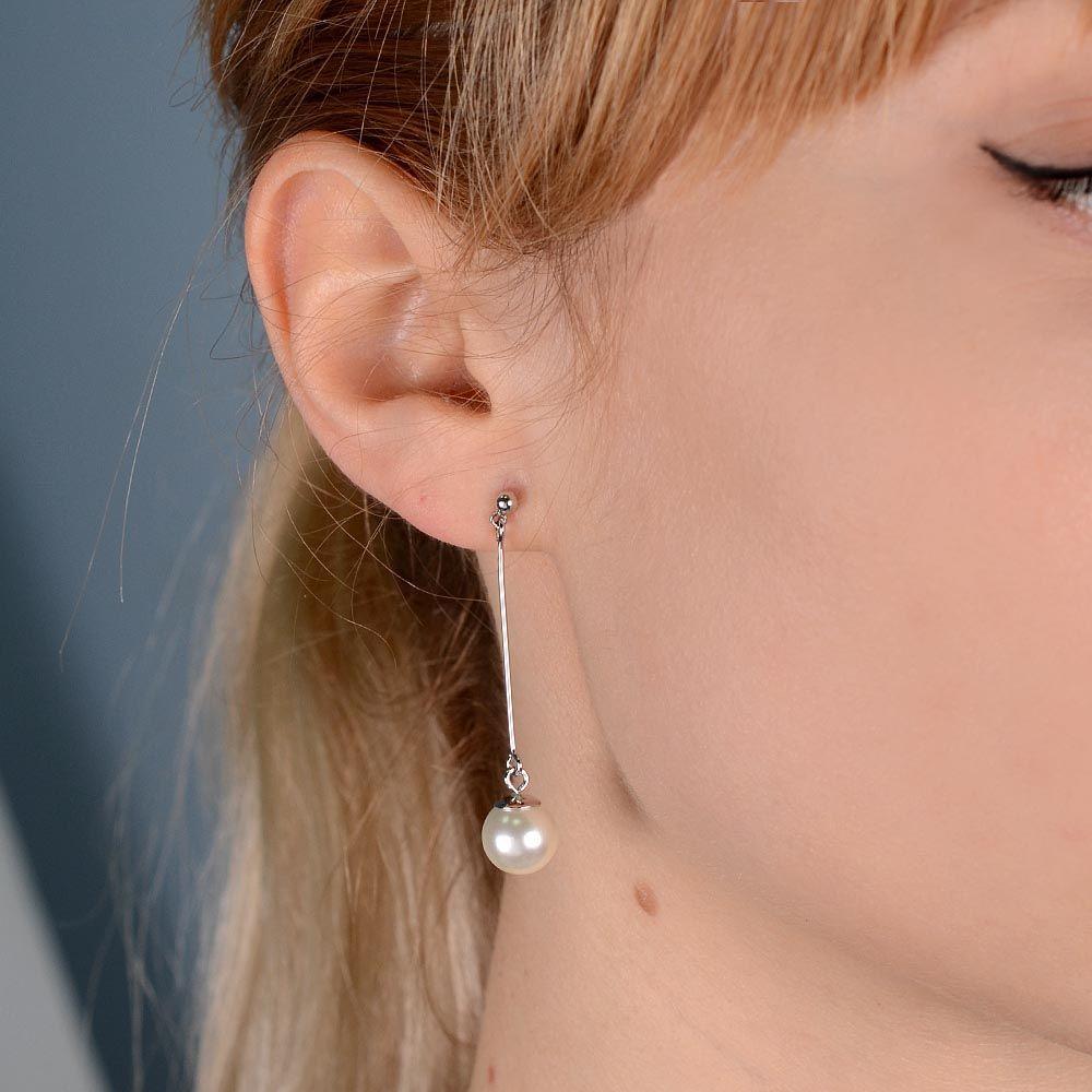 Длинные серьги-пусеты Jewels с перламутровой бусиной в серебре