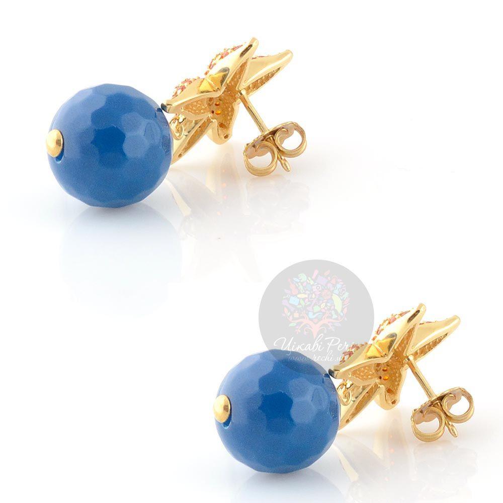 Серьги-пусеты Misis Isla de Mujeres морские звезды с цирконами и синим агатом