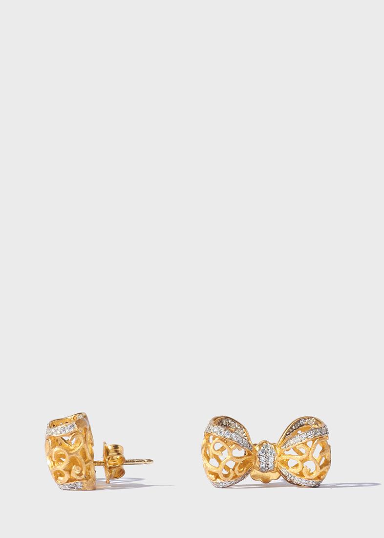 Серьги-пусеты Misis Bon Ton в виде ажурных бантиков
