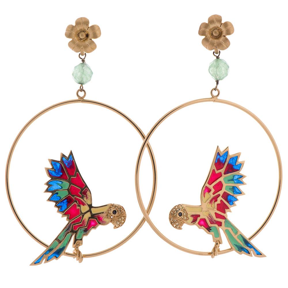 Серьги Misis Jungle Tiara с попугаями на кольцах