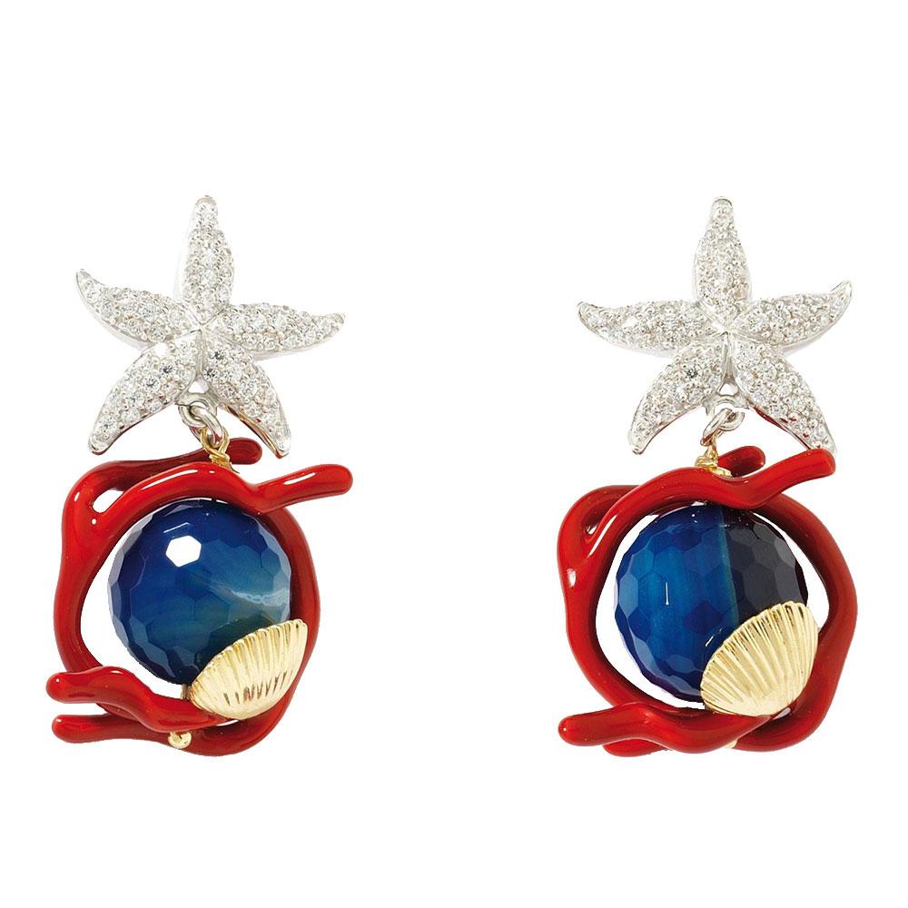 Серьги Misis Brasil с синими агатами и красной эмалью