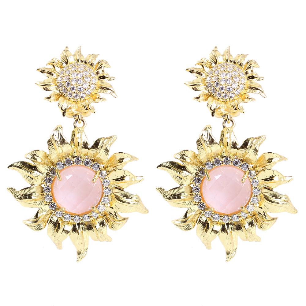 Серьги Misis I Girasoli Pienza в форме подсолнухов с розовым опалом и горным хрусталем