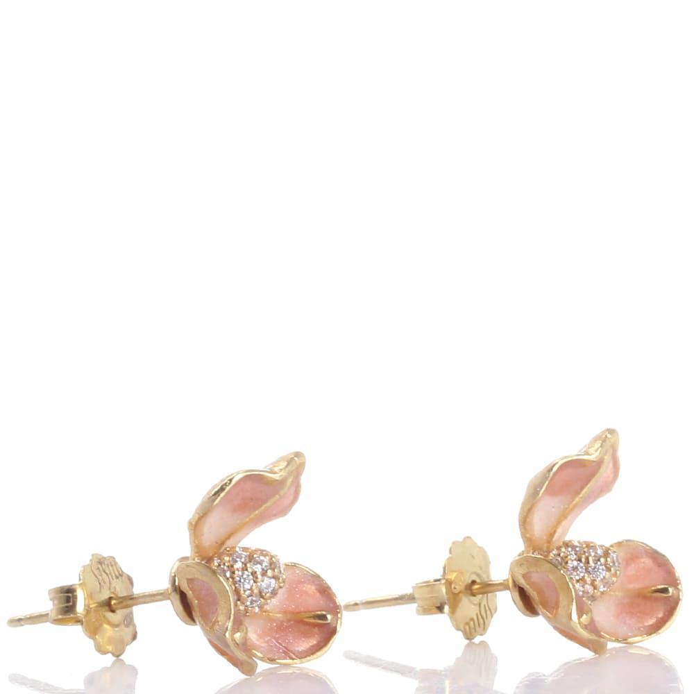 Серьги-гвоздики Misis Gemina в форме цветка ириса розового цвета