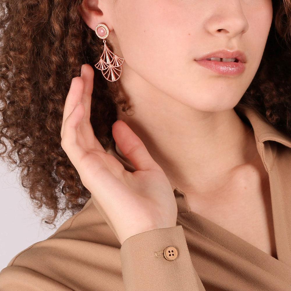 Серьги Misis Emera покрытые розовым золотом и эмалью