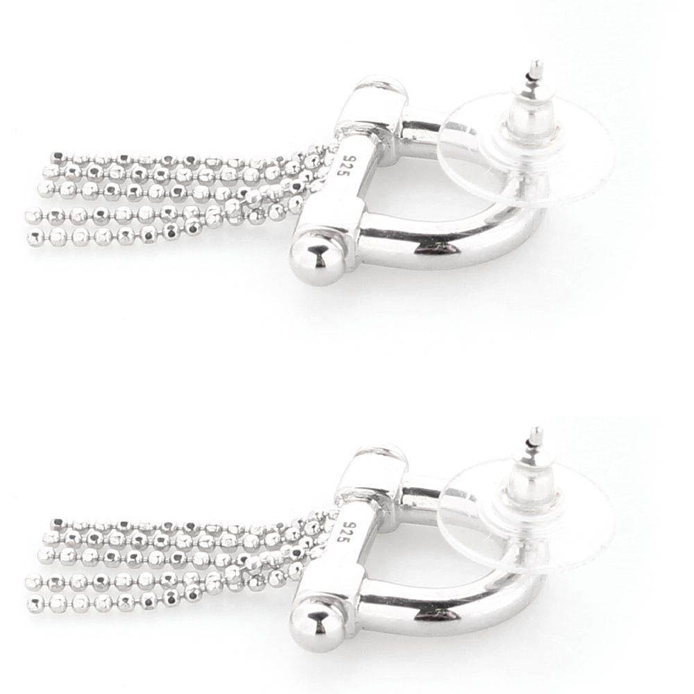 Серебряные серьги-пусеты Elisabeth Landeloos с цепочками