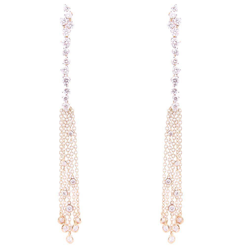 Серьги-гвоздики Casato из золота с длинными подвесками-цепочками в бриллиантах