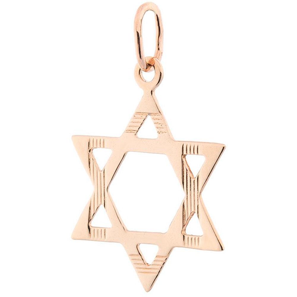 Звезда Давида из золота с насечками