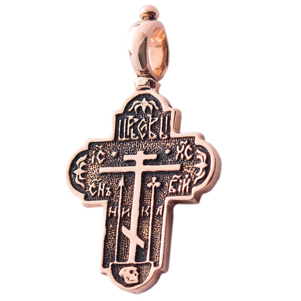 Голгофский крест из золота с чернением