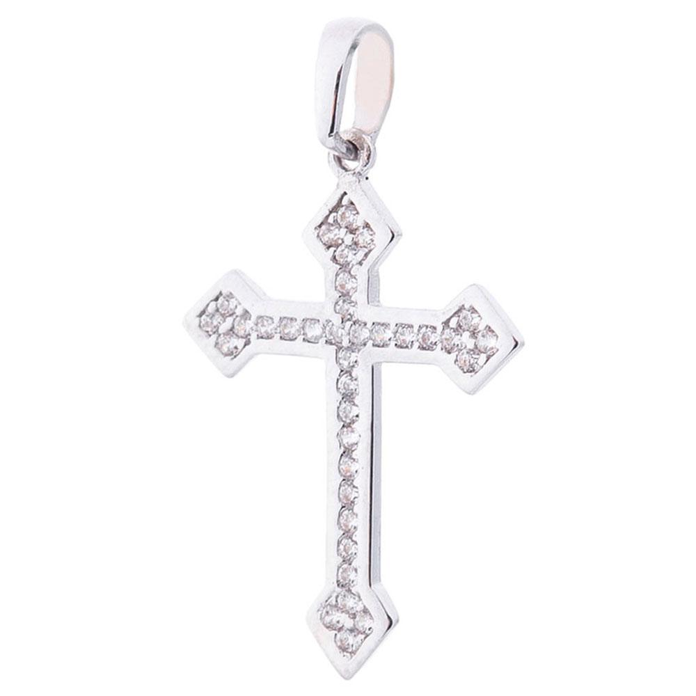 Кулон-крестик из белого золота