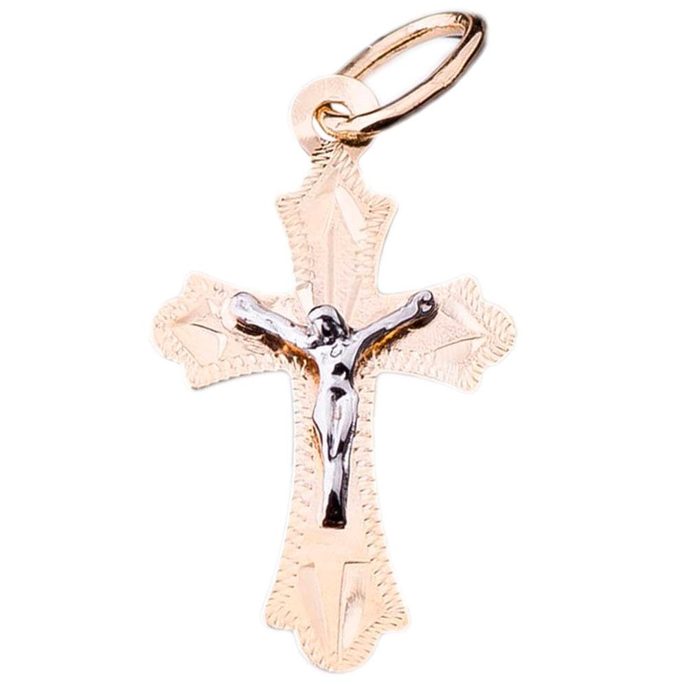 Крестик из желтого золота с рифлением