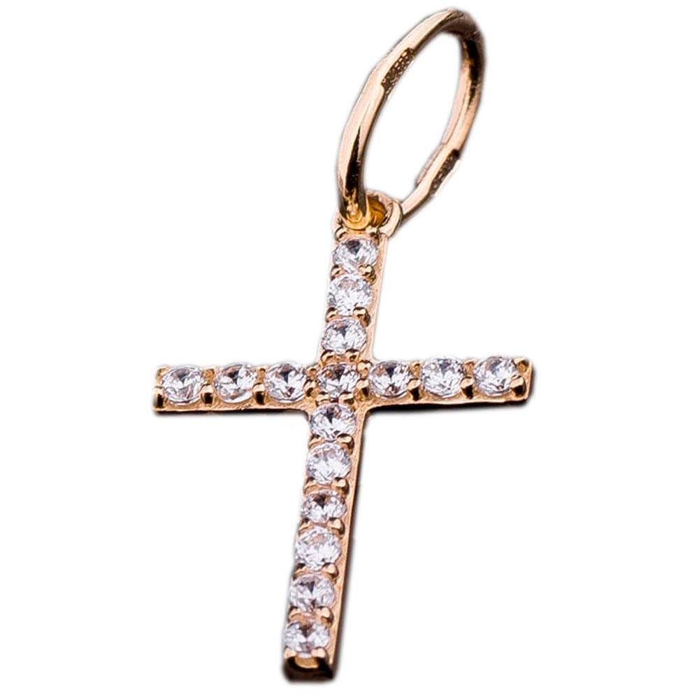 Крестик из желтого золота на прямой основе