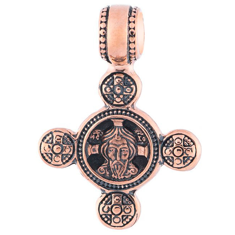 Золотой крестик Ангел Хранитель с чернением