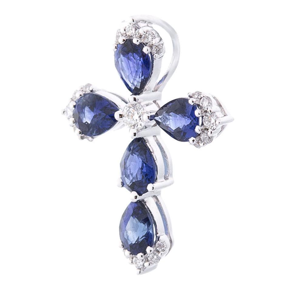 Крестик Оникс с синими сапфирами и бриллиантами