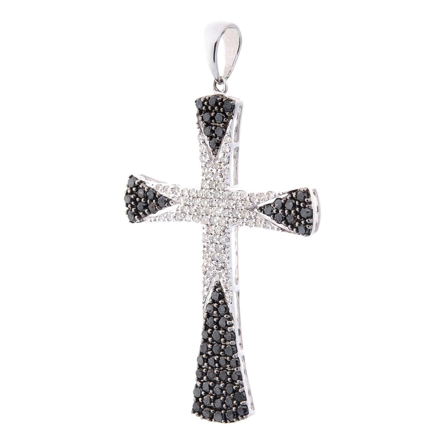 Крестик из золота с черными и белыми бриллиантами