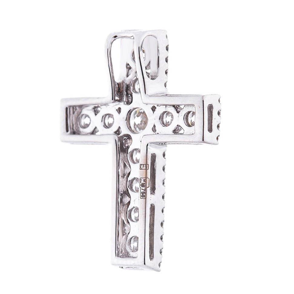 Золотой крестик Оникс с бриллиантами