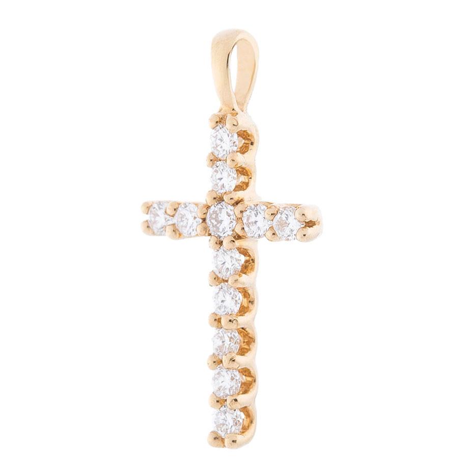 Крестик с бриллиантами Оникс из желтого золота