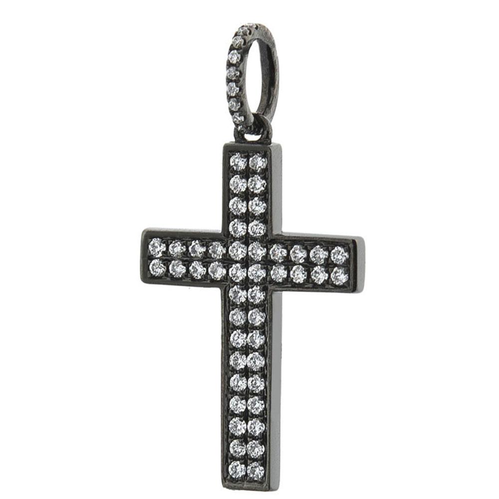 Золотой крестик Оникс черного цвета
