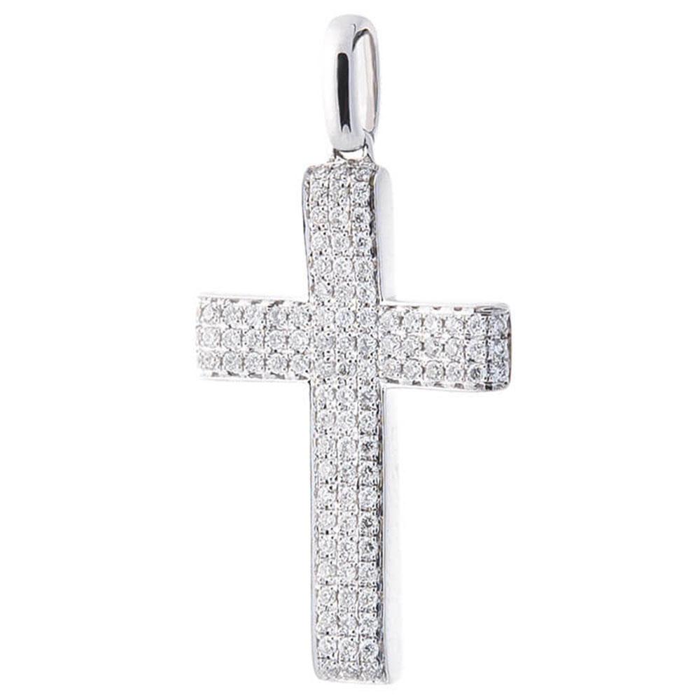 Широкий крестик Оникс из белого золота