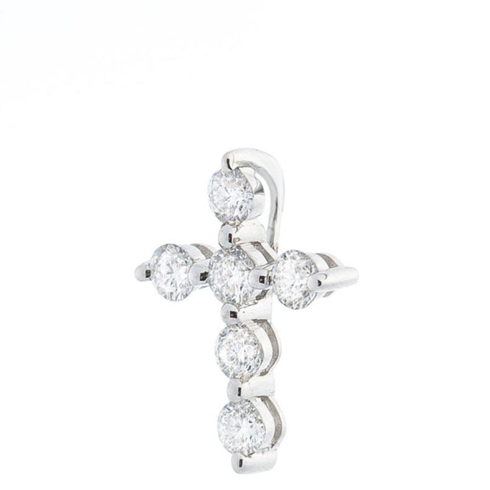 Маленький крестик Оникс с бриллиантами