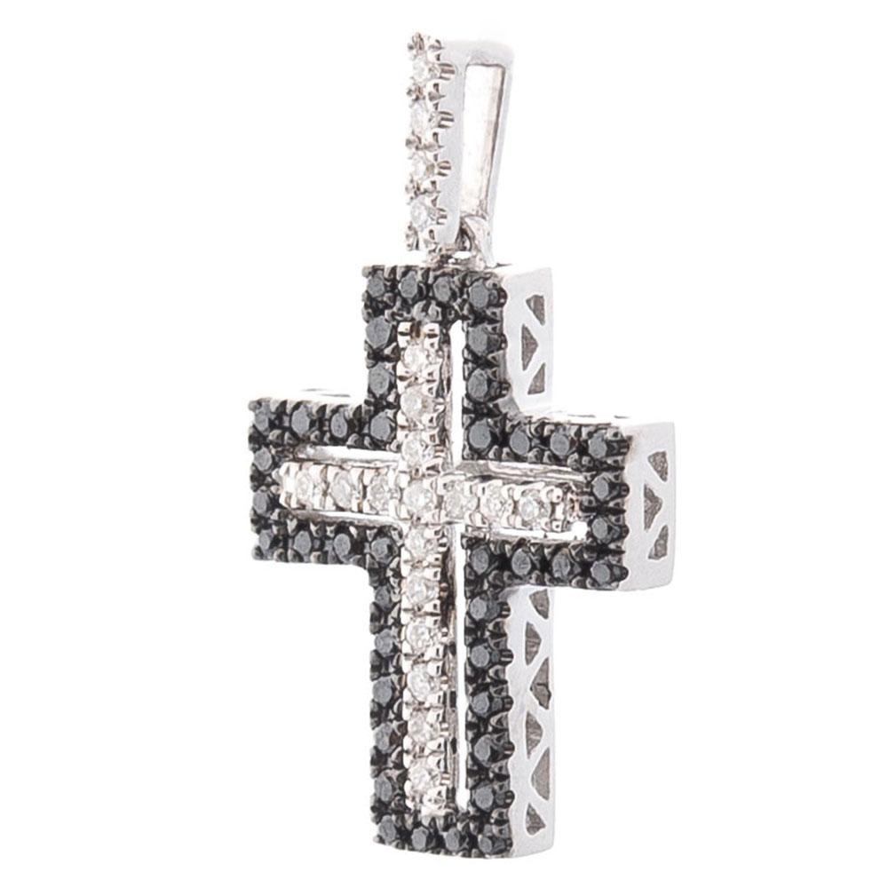Крестик Оникс с черными и белыми бриллиантами