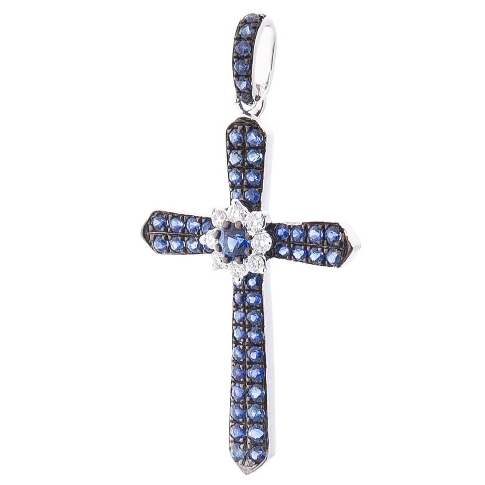 Подвеска Оникс с бриллиантами и синими сапфирами