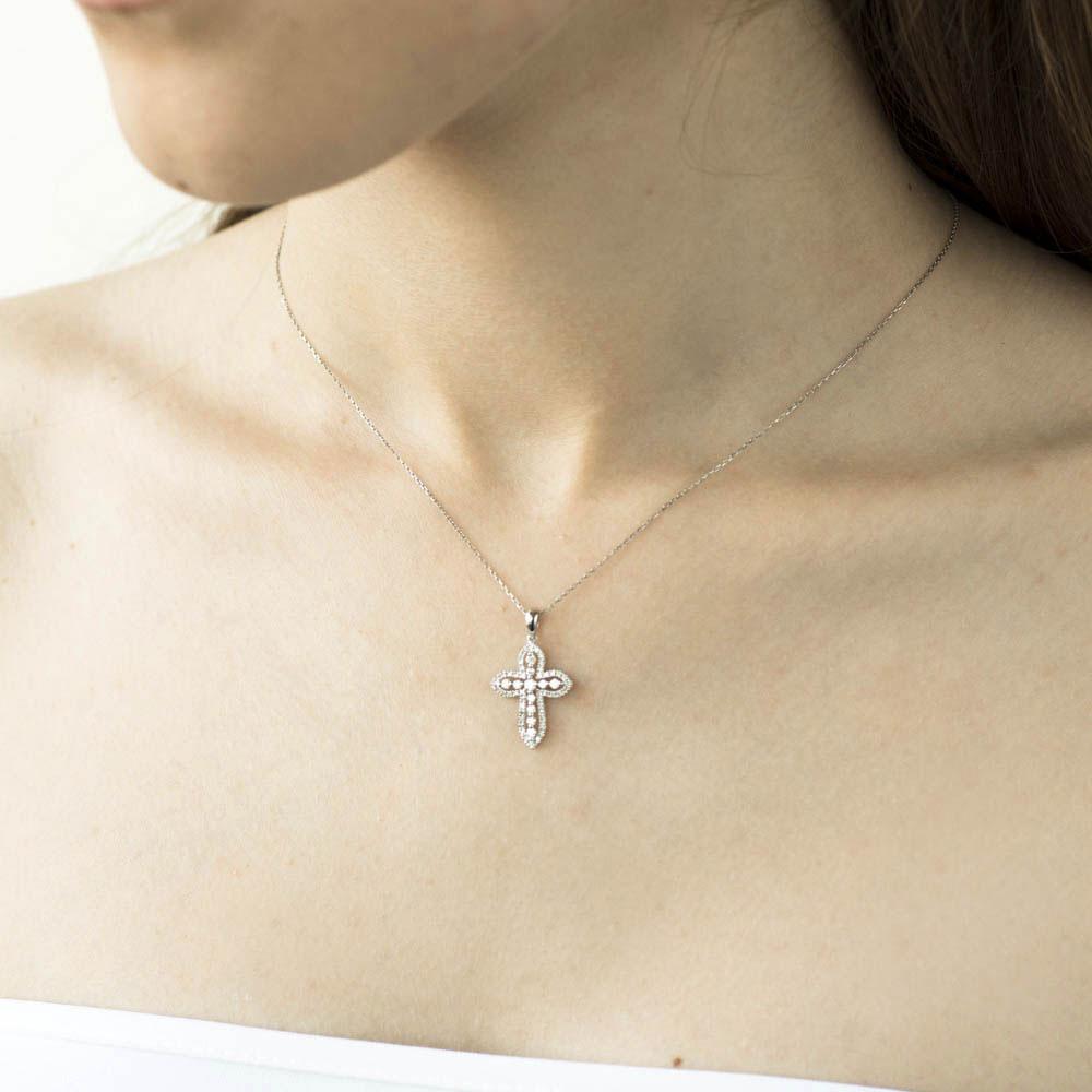 Объемный крестик Оникс с бриллиантами
