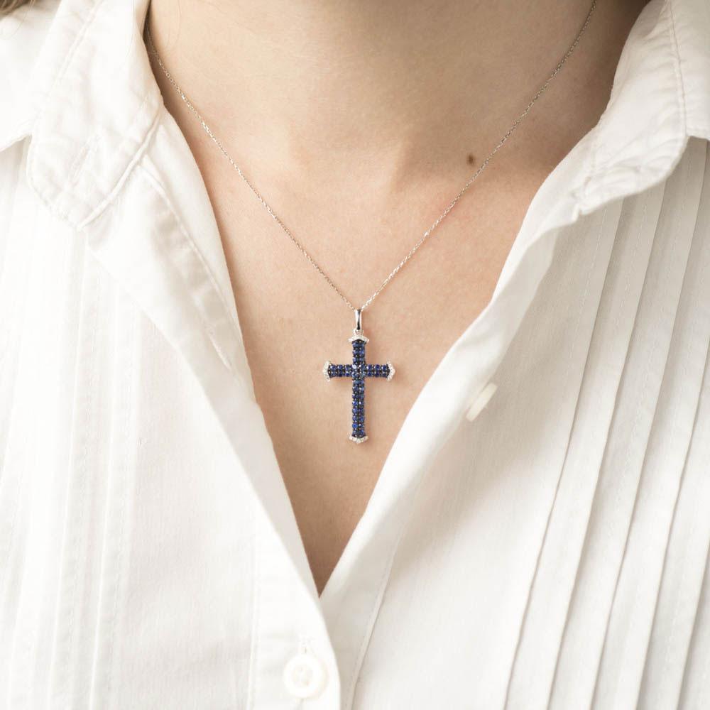 Крестик Оникс с бриллиантами и сапфирами
