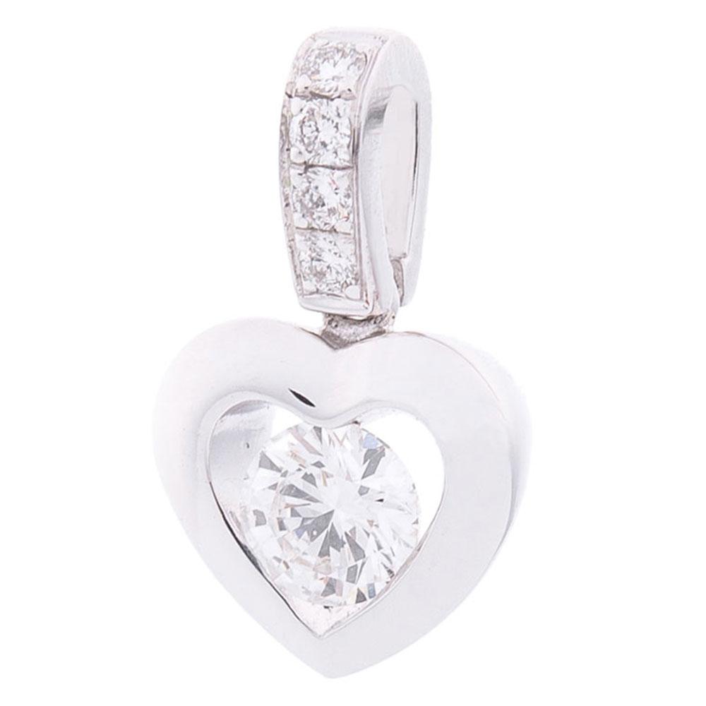 Подвеска Оникс в форме сердца с бриллиантами