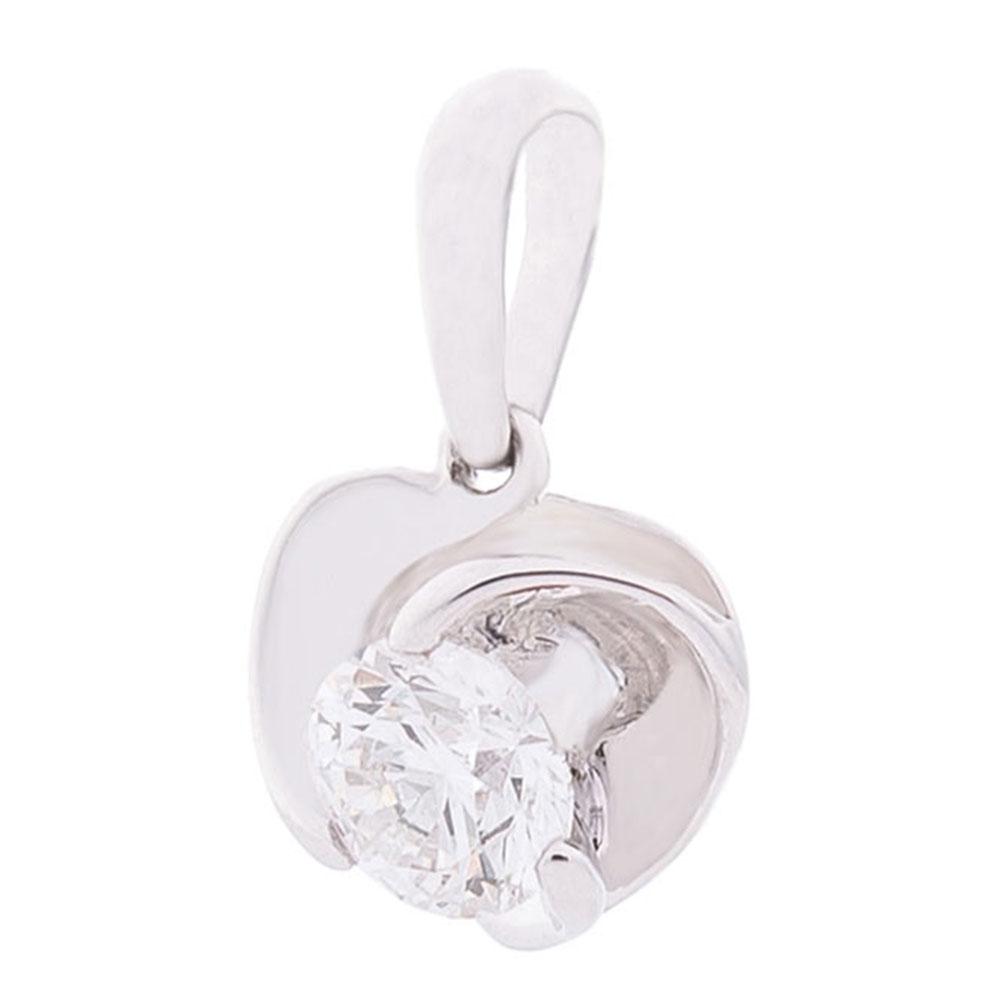 Кулон Оникс из белого золота с бриллиантом