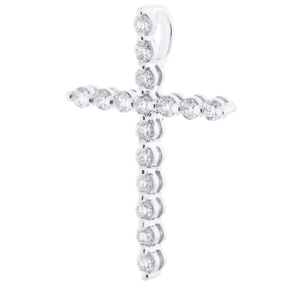 Крестик с белыми бриллиантами Оникс из золота