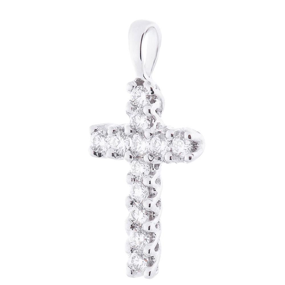 Золотой крестик Оникс с белыми бриллиантами