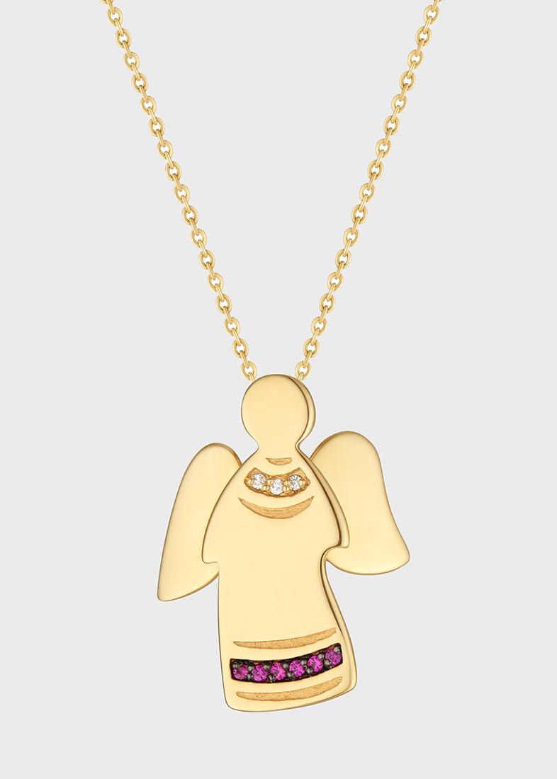 Подвеска с цепочкой Art Vivace Jewelry Ангел с бриллиантами и рубинами