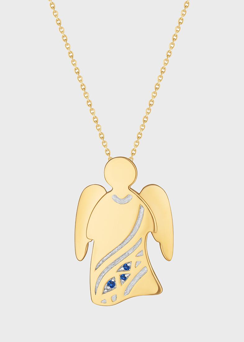 Подвеска с цепочкой Art Vivace Jewelry Ангел с бриллиантами и сапфирами