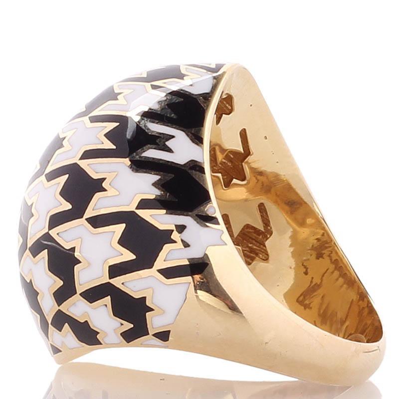 Крупное широкое кольцо Roberto Bravo Pied De Poule с орнаментом гусиная лапка