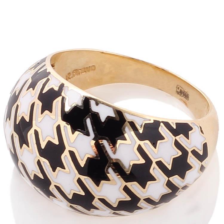 Широкое золотое кольцо Roberto Bravo Pied De Poule с орнаментом гусиная лапка