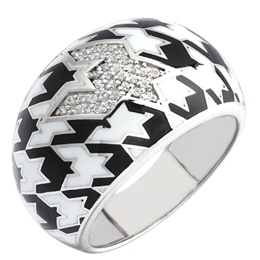 Серебряное кольцо 935 by Roberto Bravo покрытое черной и белой эмалью