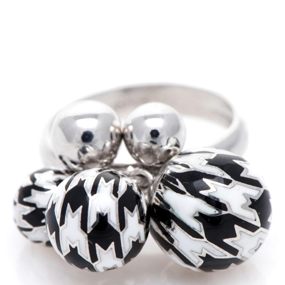 Кольцо 935 by Roberto Bravo с шариками черно-белого цвета