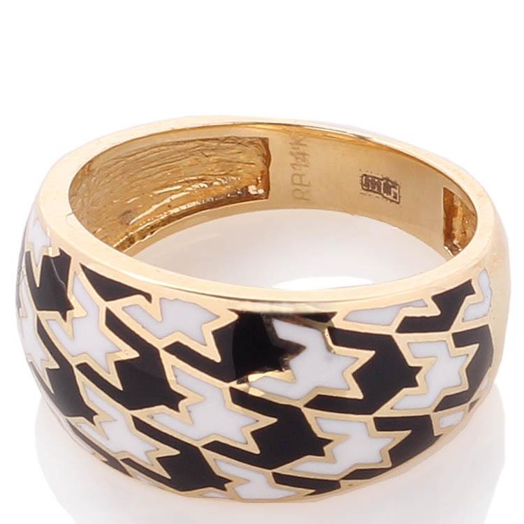 Широкое кольцо Roberto Bravo Pied De Poule с монохромным орнаментом гусиная лапка