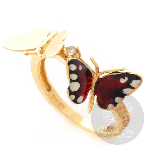 Кольцо Roberto Bravo Monarch Butterflies золотое с бриллиантом