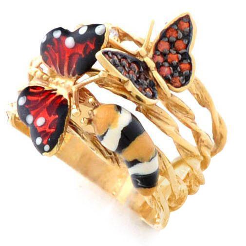 Кольцо Roberto Bravo Monarch Butterflies золотое с бриллиантом и гранатами