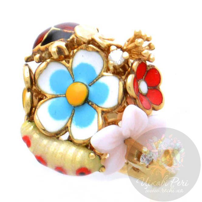 Кольцо Roberto Bravo Noahs Ark золотое с цветами и бриллиантами