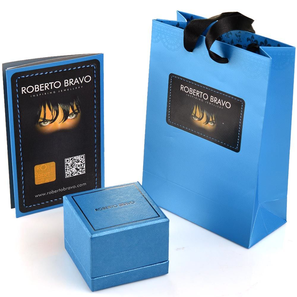 Серьги Roberto Bravo Noahs Ark золотые с голубыми цветами перламутром и бриллиантами